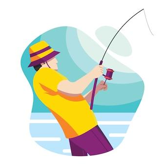 Uomo con una canna da pesca