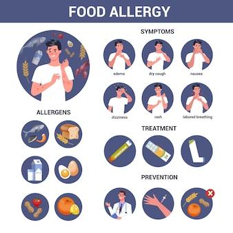 Uomo con allergia alimentare, sintomi e trattamento. pelle arrossata e pruriginosa. reazione allergica alla drogheria. ipersensibilità a componenti del cibo. Vettore Premium