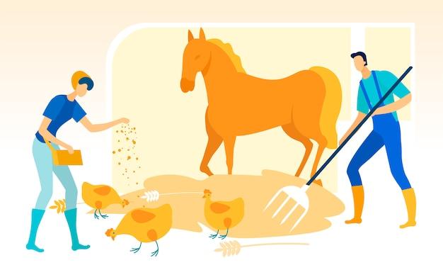 L'uomo con le forche pulisce la stalla. la donna alimenta il pollo.