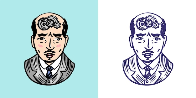 Un uomo con gli ingranaggi nel suo concetto di psicologia del cervello processo di pensiero retrò illustrazione vettoriale per