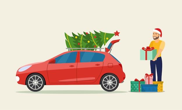Uomo con scatole regalo accanto al bagagliaio dell'auto. illustrazione di stile piatto vettoriale