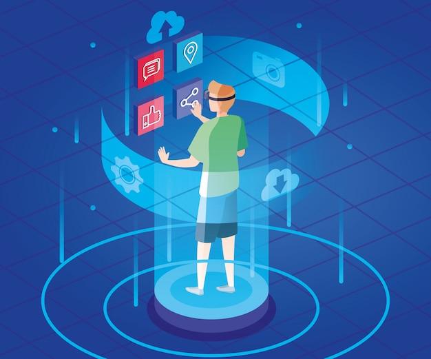 Uomo con gli occhiali della realtà aumentata e icone social media