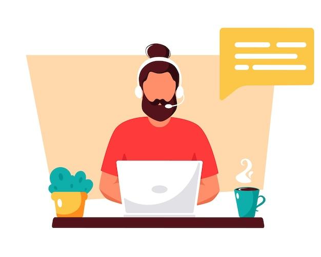 Uomo con le cuffie, servizio clienti, assistente, supporto, concetto di call center