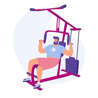 Un uomo con un allenatore di mani pesanti illustrazione vettoriale allenamenti dimagranti vita sportiva che perde peso