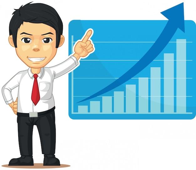 Uomo con grafico o grafico in aumento
