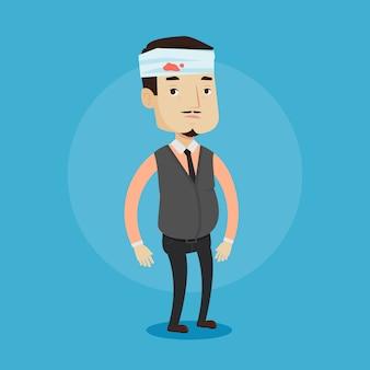 Uomo con la testa ferita illustrazione.