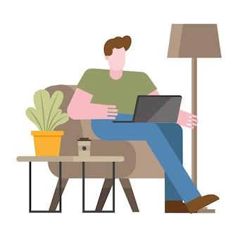Uomo con il laptop sulla sedia che lavora dalla progettazione domestica dell'illustrazione di vettore del tema di telelavoro