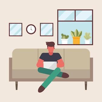 Uomo con il computer portatile che lavora sul divano da casa design del tema del telelavoro illustrazione vettoriale