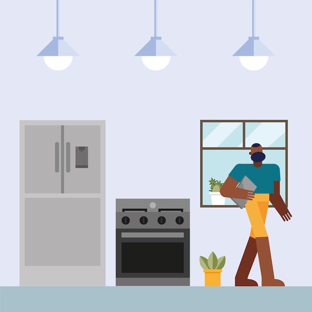 Uomo con il laptop che lavora dalla progettazione della cucina domestica dell'illustrazione di vettore del tema del telelavoro