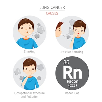 Uomo con cause di cancro ai polmoni