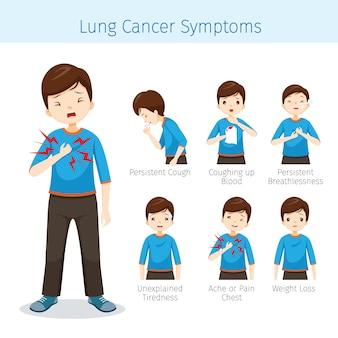 Uomo con i sintomi del cancro ai polmoni