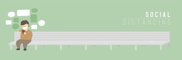 L'uomo con lo smartphone di chat di maschera sulla panca mantiene la distanza dall'epidemia di protezione covid-19, poster di concetto di distanza sociale o illustrazione di banner sociale su sfondo verde, copia spazio