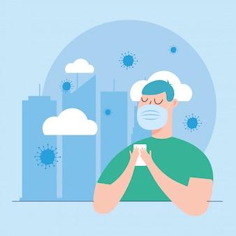 Uomo con maschera in città