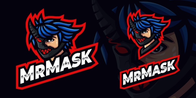 Man with mask gaming mascot logo per esports streamer e community