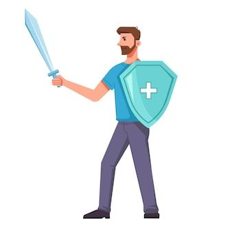 Uomo con scudo medico e spada lotta contro il coronavirus. protezione dai virus