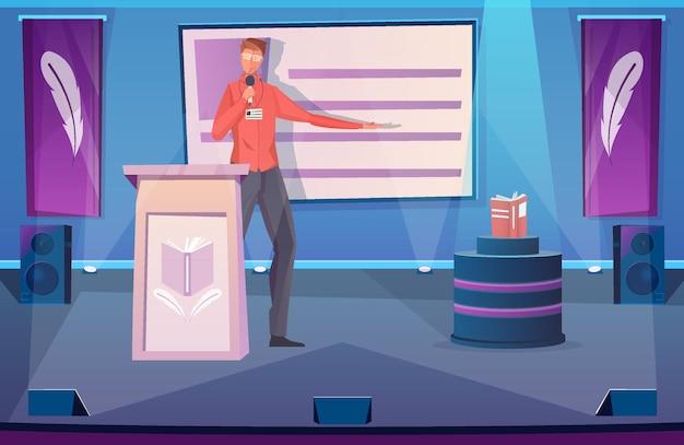 Uomo con microfono che tiene la presentazione del nuovo libro sul palco piatto