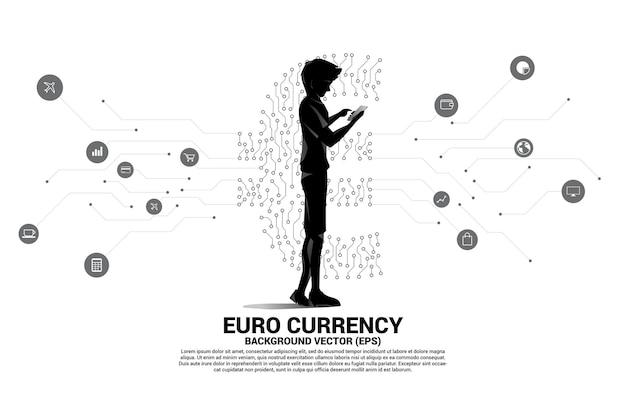 Uomo con il telefono cellulare e l'icona dei soldi di valuta euro