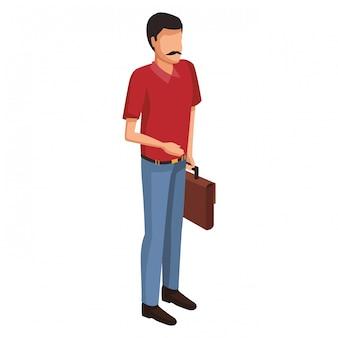 Uomo con baffi avatar isometrico