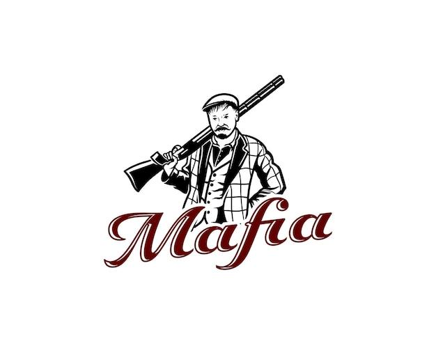 Un uomo con i baffi che tiene in mano un modello di progettazione del logo della mafia con il logo del fucile da caccia