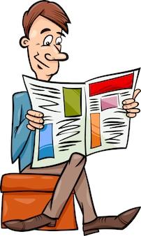 Uomo con l'illustrazione del fumetto del giornale