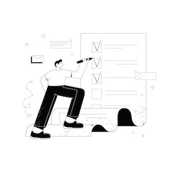 Uomo con la matita nell'elenco delle attività gigante con segni di spunta completamento delle attività di successo pianificazione