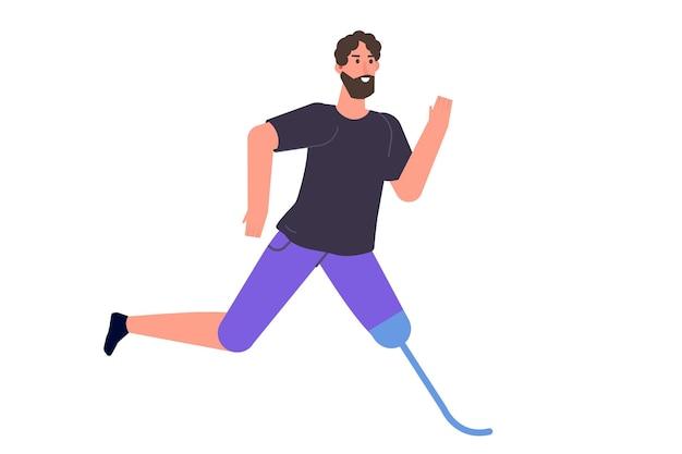 Uomo con gambe protesiche in esecuzione. disabili con disabilità e protesi. personaggio dal piede bionico. illustrazione di stile piano di vettore.