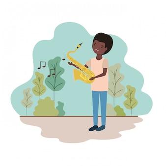 Uomo con sassofono in carattere avatar paesaggio