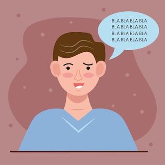 Uomo con il fumetto e il disturbo bipolare