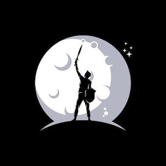 Un uomo con spada e scudo