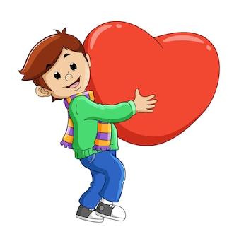L'uomo con la sciarpa che tiene il grande amore per san valentino dell'illustrazione