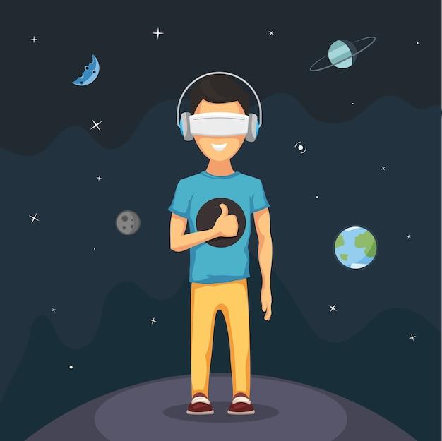 Uomo con occhiali per cuffie da realtà virtuale.