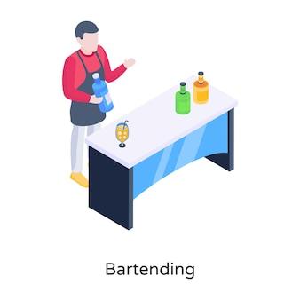 L'uomo con le bottiglie di vino un concetto di illustrazione isometrica del bartending