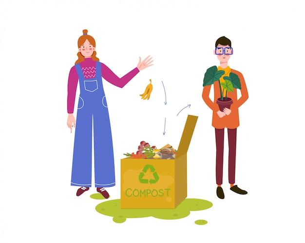 Uomo con donna che produce composta. bidone per compost con materiale organico. compost per fiori di casa, illustrazione di bio, fertilizzanti organici, riciclaggio dei rifiuti, compost, suolo, agronomia.
