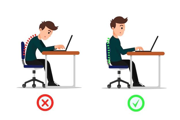 Uomo con la posizione del corpo seduta sbagliata e corretta