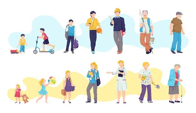 Uomo e donna età, bambino, adolescente, giovane, adulto, vecchie illustrazioni. generazioni di persone in età diverse. cicli di vita dell'uomo e della donna. fasi di crescita, sviluppo e invecchiamento del corpo umano.