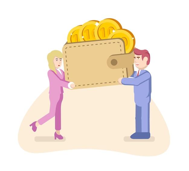 Un uomo e una donna tengono in mano un'enorme borsa di denaro e monete. illustrazione vettoriale in stile piatto. concetto del bilancio familiare.