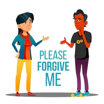 Uomo e donna che chiedono perdono poster del fumetto