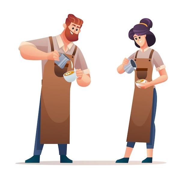 Personaggi baristi uomo e donna che preparano il caffè