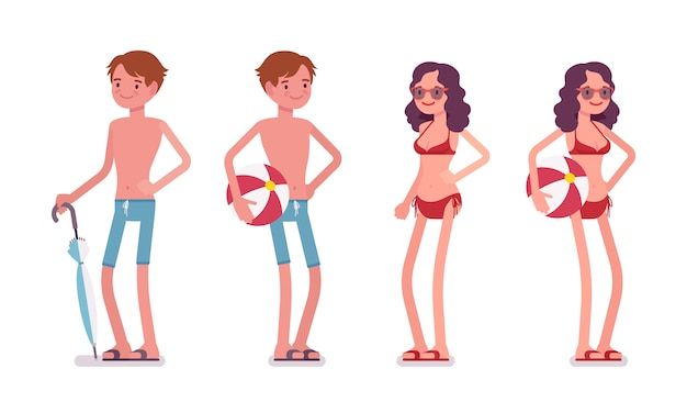Uomo e donna in un set da spiaggia, in piedi e rilassante