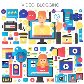 Blogger uomo e donna. concetto di video blogging. video blog digitale online