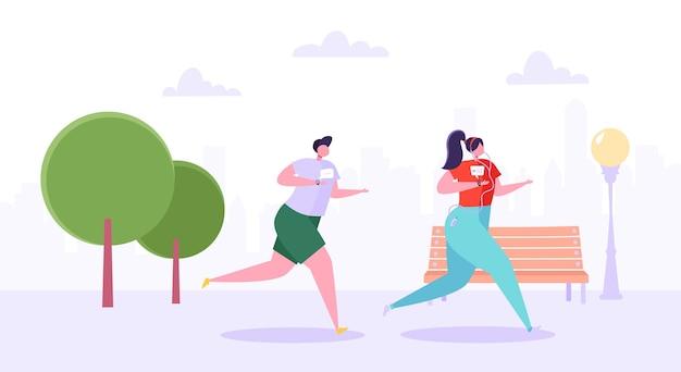 Personaggi di uomo e donna che corrono nel parco. gente attiva felice che pareggia. coppia in esecuzione maratona. stile di vita sano, fitness in città.