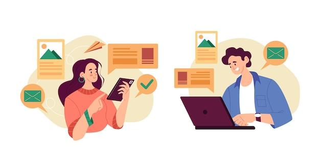Caratteri di donna uomo utilizzando smartphone e laptop. impostato