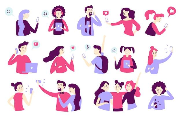 Caratteri di uomo e donna che utilizzano smartphone