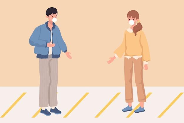 Personaggi di uomo e donna che indossano maschere mediche
