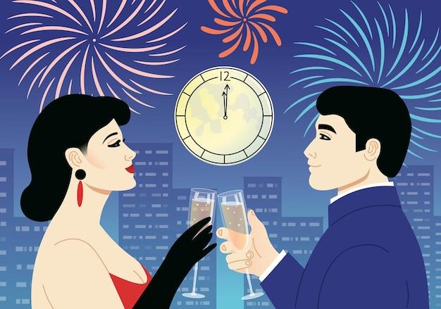 Un uomo e una donna che tintinnano bicchieri di champagne sulla luna notturna della città e fuochi d'artificio
