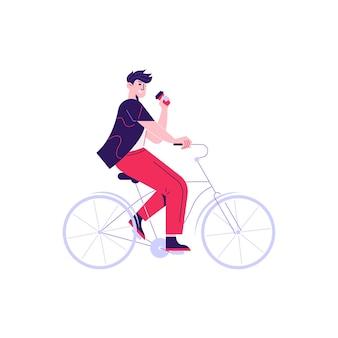 Composizione di routine quotidiana della donna dell'uomo con il carattere della bicicletta di guida dell'uomo con la tazza di caffè