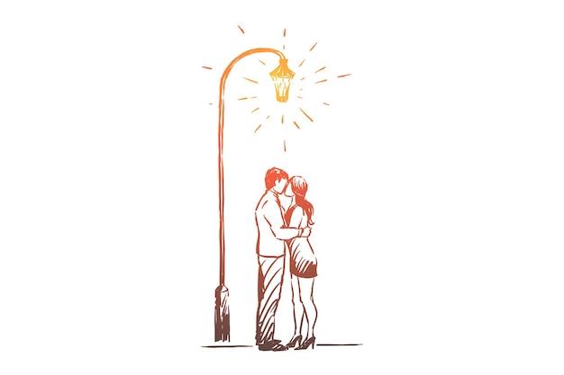 Uomo e donna alla data nell'illustrazione del parco
