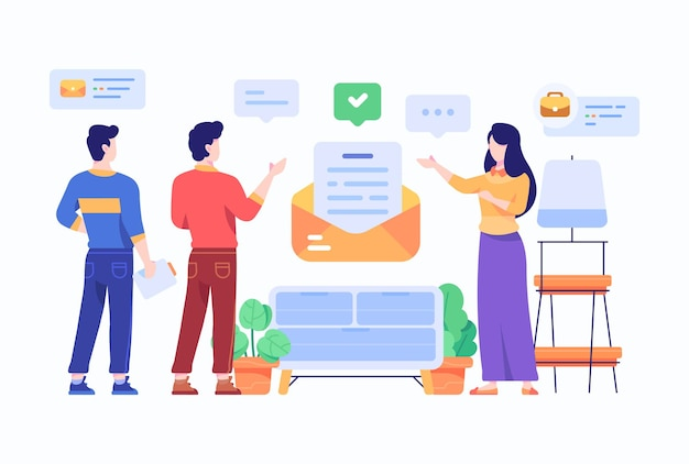 Discussione della donna e dell'uomo sull'illustrazione piana di stile di progettazione di concetto del email di affari