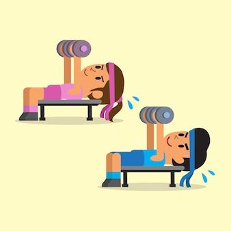 Uomo e donna che fanno esercizio di stampa con manubri