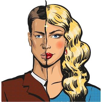 Uomo e donna metà faccia vettore isolato su bianco